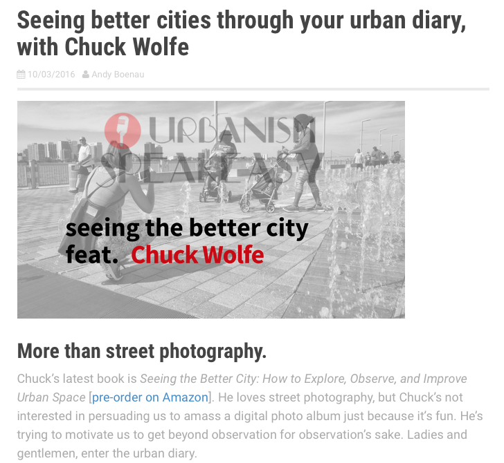 on urban diaries: a 'seeing the better city' prequel